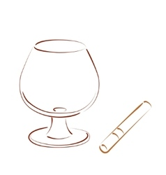 Sketched cognac balloon and cigar vector