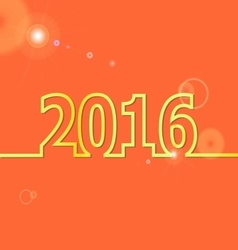 2016 happy new year on orange background vector