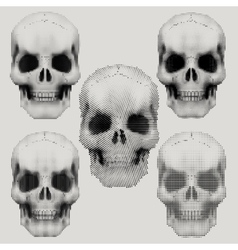 Human skulls in vintage halftone style vector