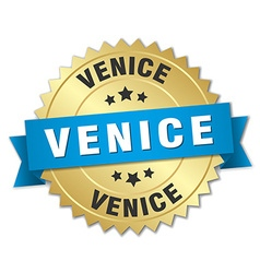 Venice round golden badge with blue ribbon vector