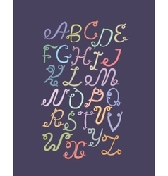 Hand drawn abc funky letters isolated on light vector