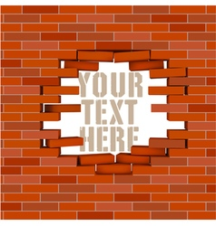 Broken white brick wall with flying bricks vector