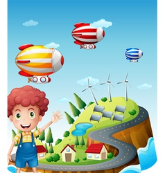Airships in the village vector image vector image