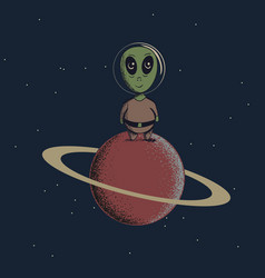 alien landed to saturn vector image vector image