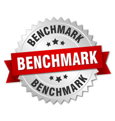 Benchmark round isolated silver badge vector