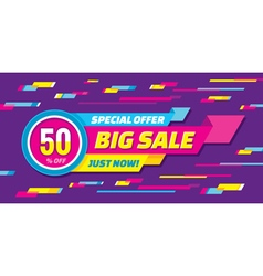 Big sale origami horizontal banner vector image