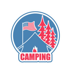camping logo tent camp emblem forest and tent vector image vector image