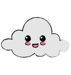 cloud sky kawaii character vector image