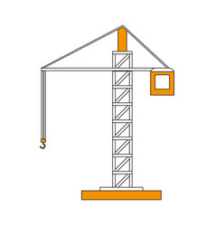Color silhouette cartoon tall crane of building vector