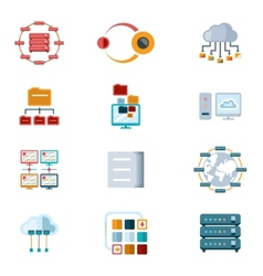 Computer Networking Icons vector image vector image
