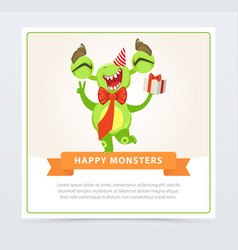 Cute funny green monster in party hat with gift vector