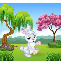 Cute little bunny walking in the forest vector image vector image