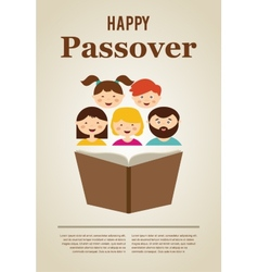 family reading hagada book at passover holiday vector image vector image