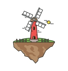 Flying island with a windmill Farmer building for vector image vector image