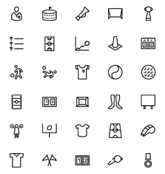 Football line icons 3 vector