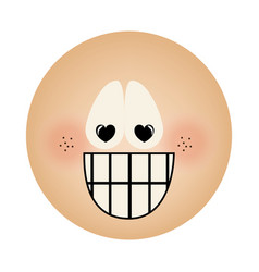 human face emoticon crazy in love expression vector image