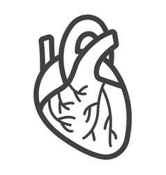 human heart line icon medicine and healthcare vector image