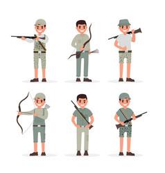Hunter huntsman gamekeeper forester and archer vector