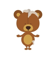 Isolated toy teddy bear damaged design vector image