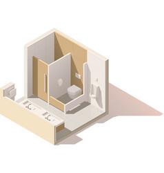 Isometric low poly public toilet icon vector