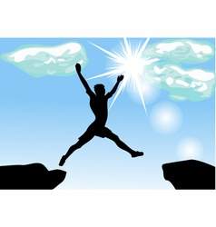 Leap across the chasm vector