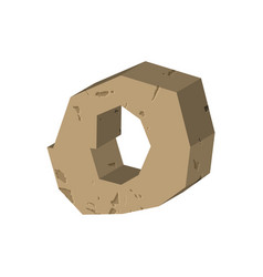 letter o stone font rock alphabet symbol stones vector image