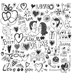 love doodles set vector image