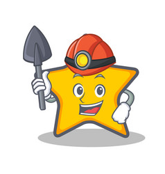 Miner star character cartoon style vector
