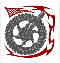 Moto logo symbol inside wheel and tribal vector