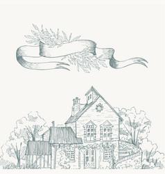 Old farmhouse and garden border ribbon for text vector
