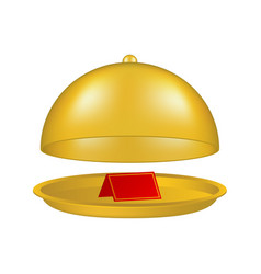 Open golden cloche with blank paper card vector