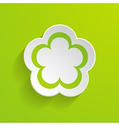 paper flower on the green background vector image vector image