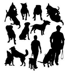 People silhouettes with dog vector