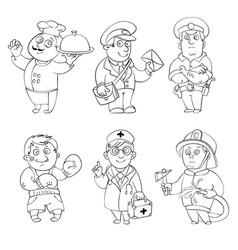 Professions coloring book vector