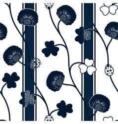 Seamless pattern blue silhouette clover ladybugs vector image