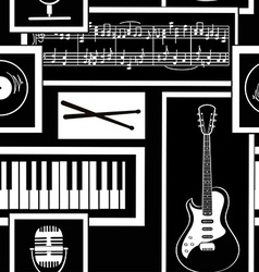 Seamless pattern of musical attributes vector