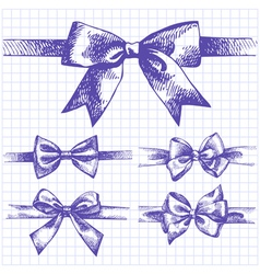 Set of bow hand drawn of ribbons vector image vector image