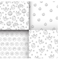 set of fantastic unusual seamless halloween vector image vector image