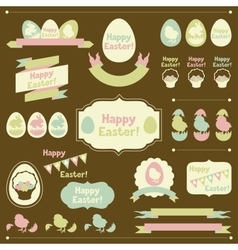 Set of Happy Easter ornaments and decorative vector image vector image