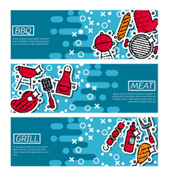 set of horizontal banners about bbq vector image vector image