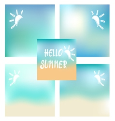 Set of summer beach background and white text hell vector