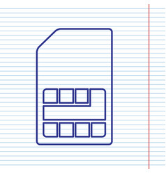 Sim card sign navy line icon on notebook vector