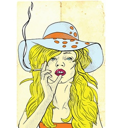Smoker Beauty with a cigarette vector image