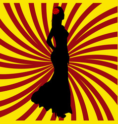 Spanish girl silhouette over spanish flag vector