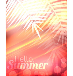 Summer greeting card with blurred background and vector