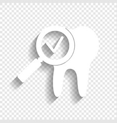 Tooth icon with arrow sign white icon vector