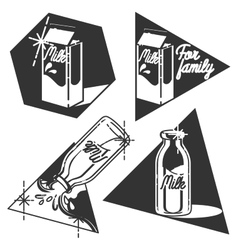 Vintage milk emblems vector