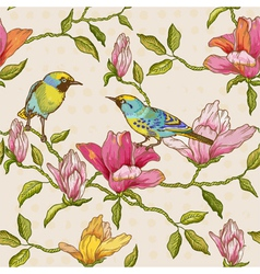 Vintage Seamless Background - Flowers and Birds vector image vector image