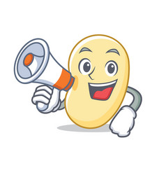 With megaphone soy bean character cartoon vector