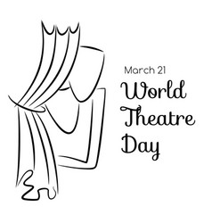 World theatre day card with curtains and masks vector